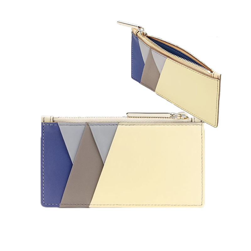 c8ab39944186a5 custom genuine leather business card holders luxury quality credit ID card  case with zip money pocket for women and men