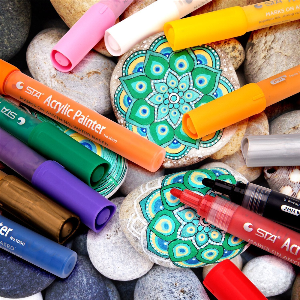 Paint Marker Pen Set of 12 Assorted Colors Works on Most Surfaces for Paper