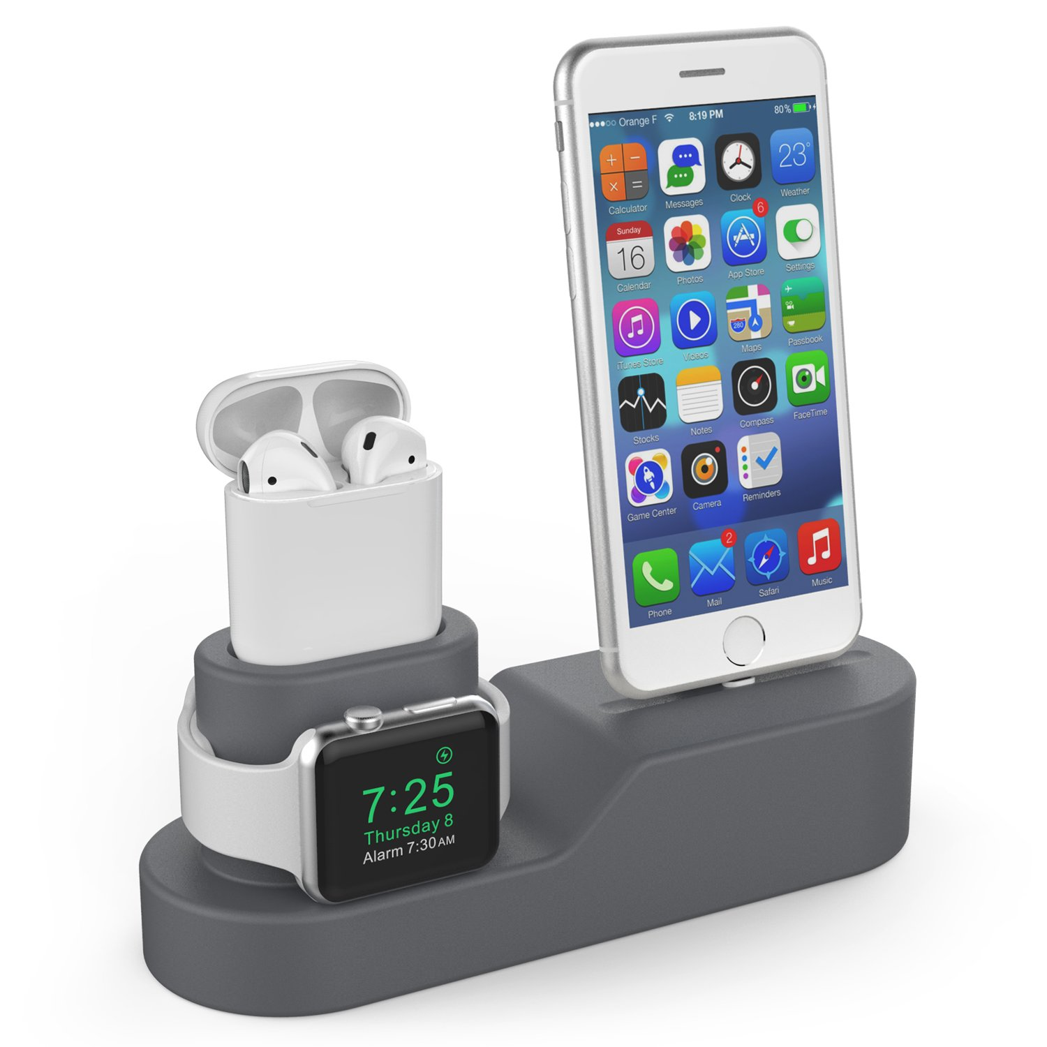 AhaStyle 3 in 1 Premium Silicone Stand Charging Dock for AirPods & Apple Watch & iPhone [Compatible with Apple Original Lightning Cable ONLY] [Cables,Watch Adaptor NOT included] (Dark Gray)