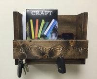 Custom vintage decorative wooden wall shelves with hooks, wood shelf wall