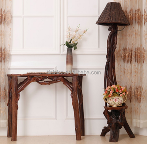 Southeast Asia Style Root Carved Floor Lamp, Unique Design Wood Carved Standard Lamp with Bark Lampshade (BF01-X1166)