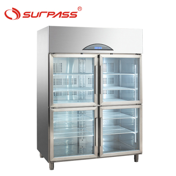 Upright 4 door commercial freezer display cabinets refrigerator