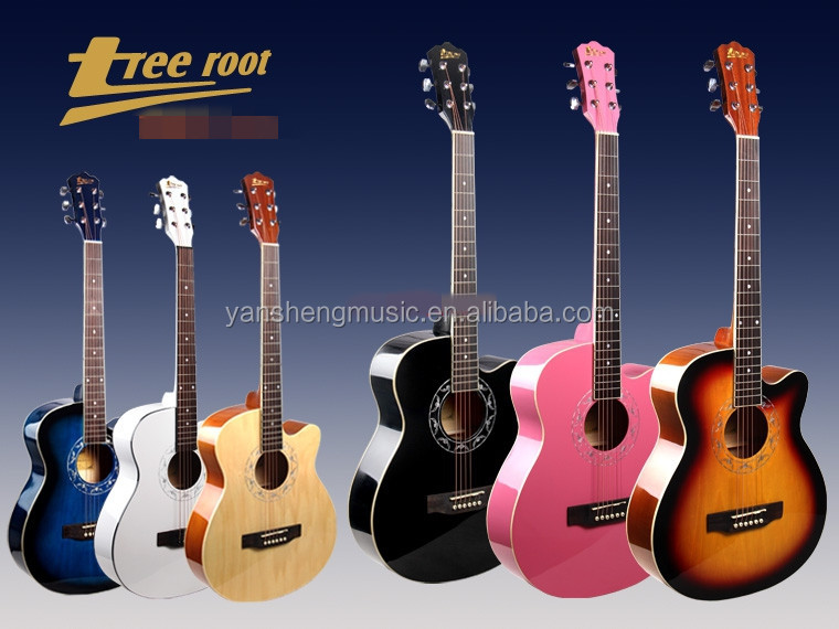 6 Colors 39 Inch high-glossy Basswood Body Acoustic Guitar