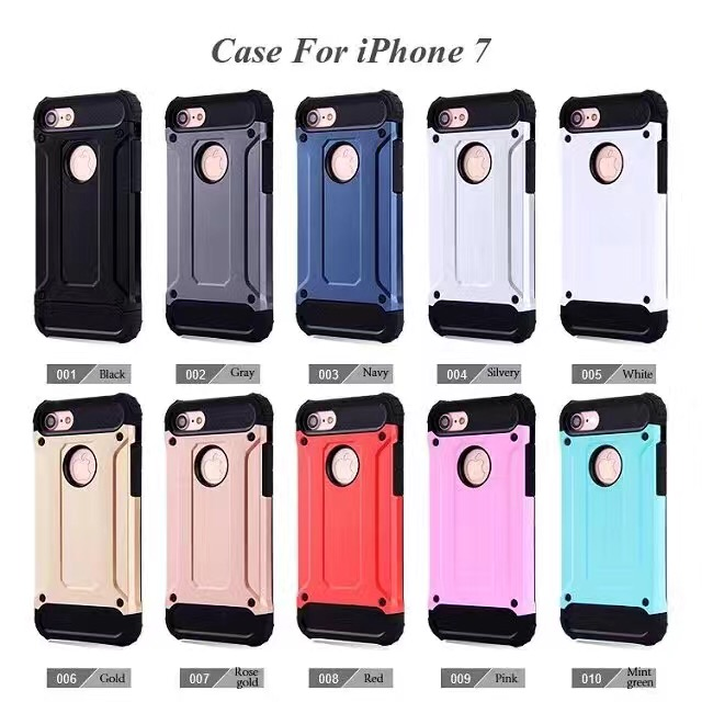 2016 new arrival hot sale slim armor case Anti-shock hard PC with soft TPU 2 in1 cellphone protective case for iphone 7 plus