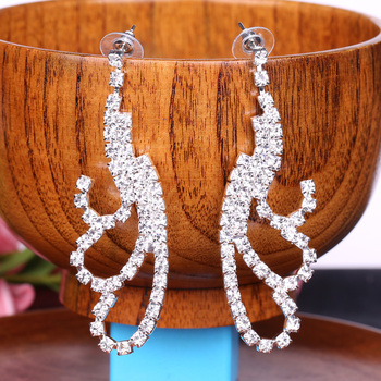 XULIN Custom Handmade Wedding Crystal Rhinestone Long earrings for women