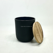 10oz frosted black/white glass candle jar with wood lid wholesale