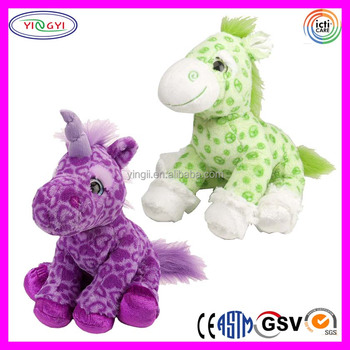 D599 Sublimation Printed Unicorn Colorful Stuffed Animal Plush Toy