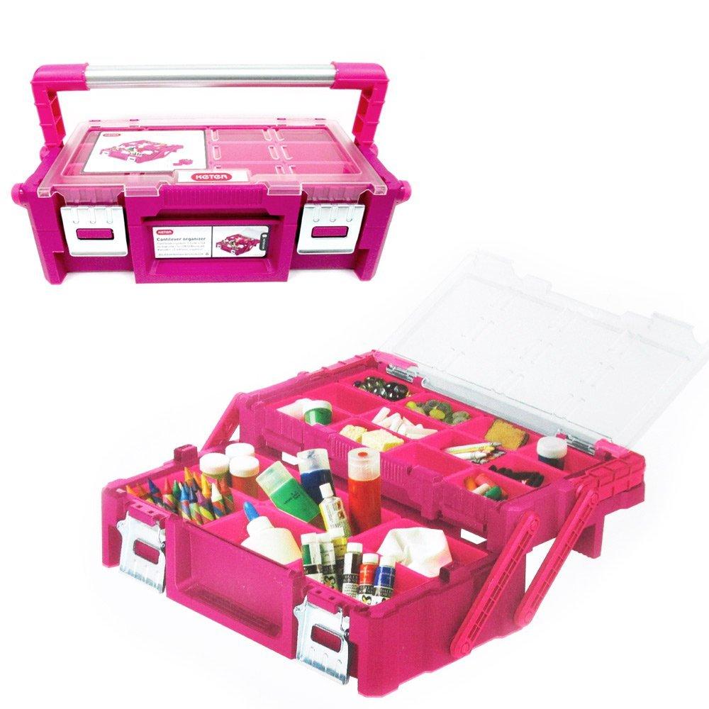 "Keter 18"" Cantilever Toolbox Organizer Crafts Hardware Jewelry Storage Bin New"