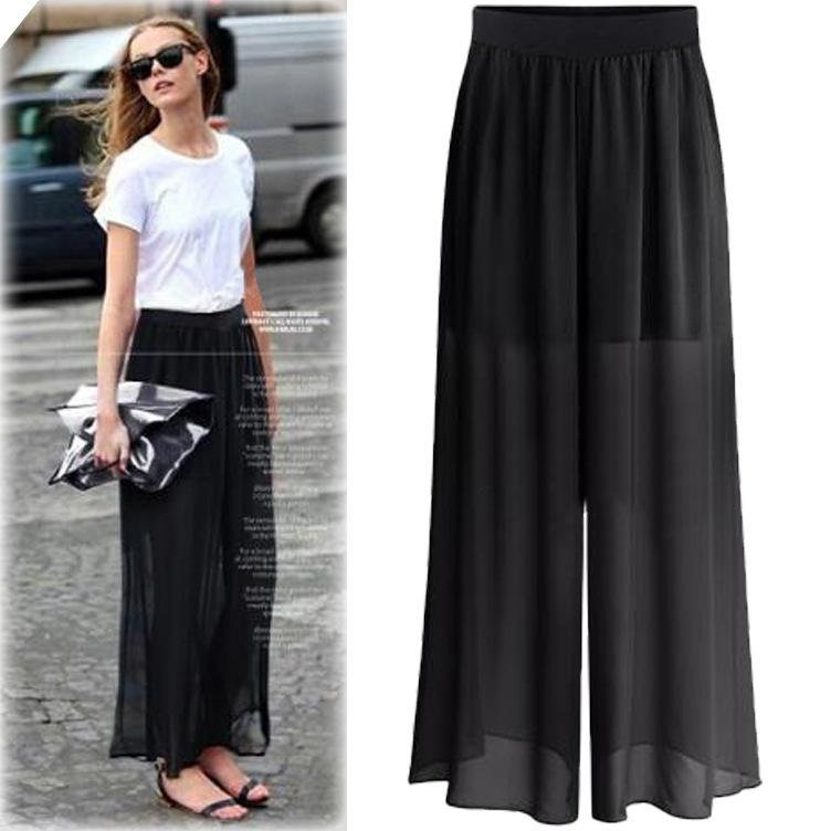 5230ed1c2 F20102A de alta calidad de las mujeres de la moda Pantalones plus tamaño  palazzo pantalones para las mujeres gordas de cintura alta pantalones ...
