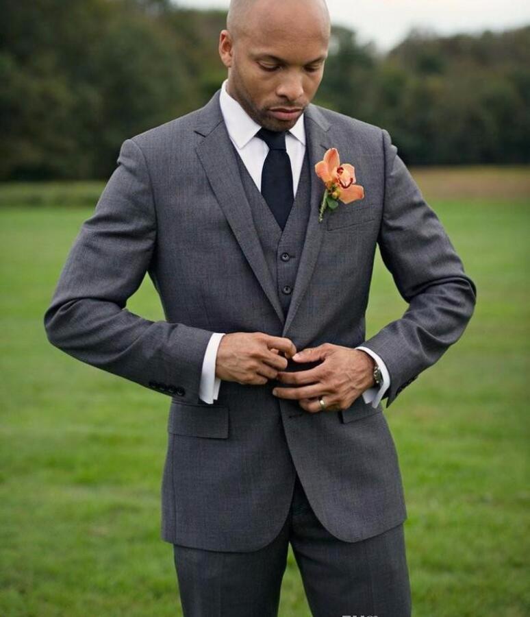 Tailored Made New Dark Grey Groomsmen Tuxedos Cheap Slim Fit Best ...