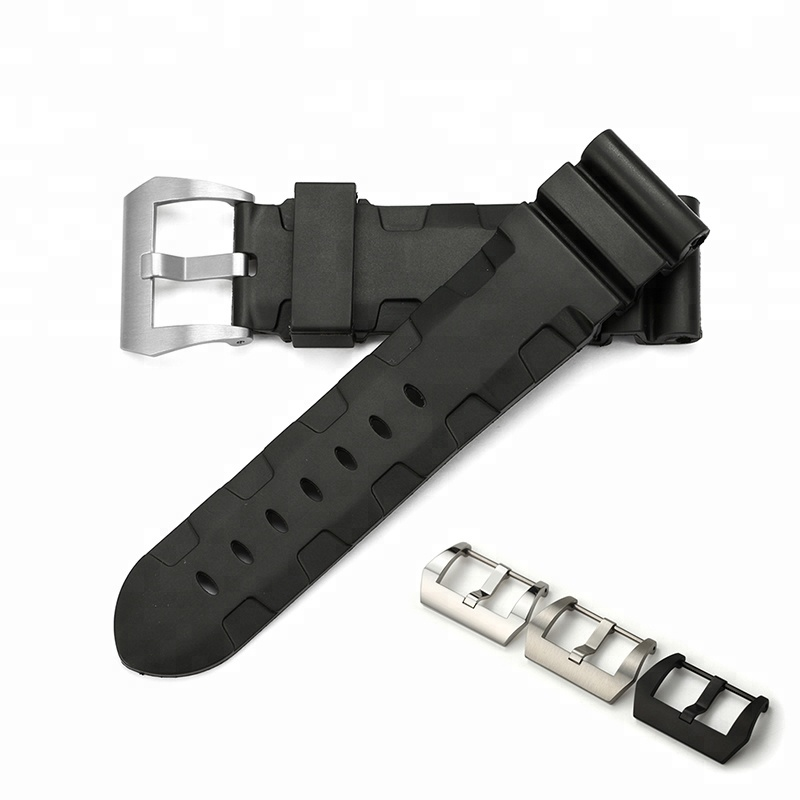 Customised Western Replacement Wristband Black Sillicon Rubber Watch Strap with S/S Pre-v Buckle for Panerai 24mm Watch Band фото