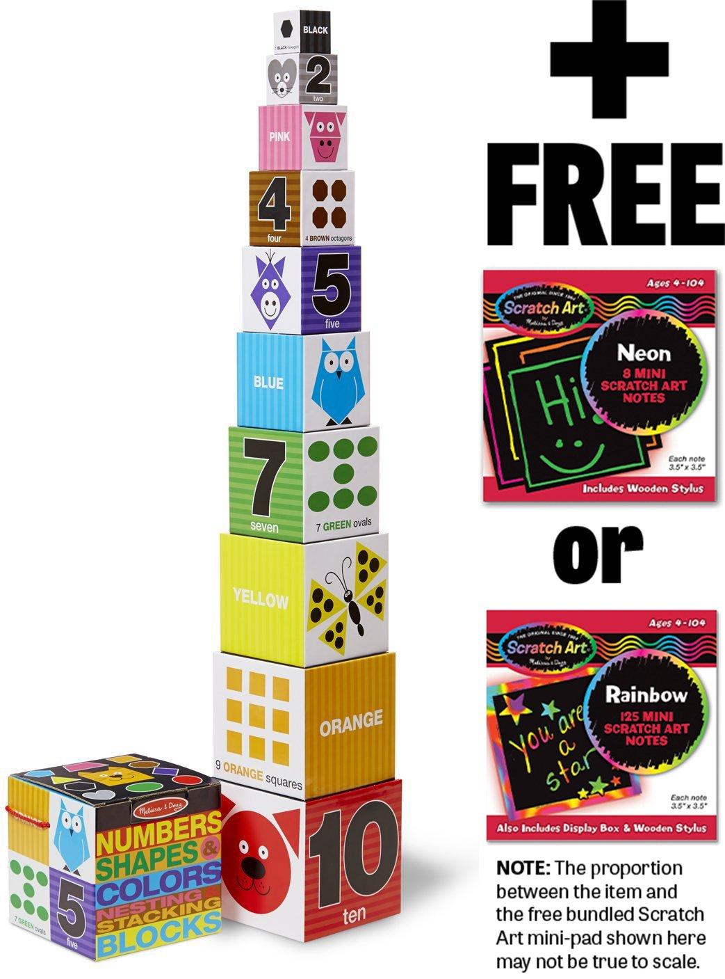 Numbers, Shapes & Colors Nesting Blocks 10-Piece Play Set + FREE Melissa & Doug Scratch Art Mini-Pad Bundle [90421]