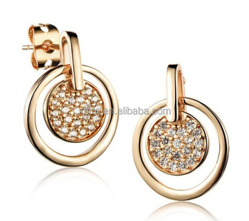 18k gold plating jewelry earring round shape women zirconia earring free shipping