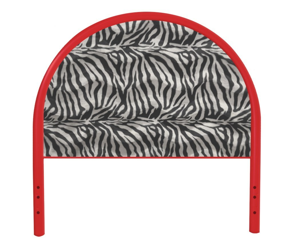 The Furniture Cove New Twin Size Children's Youth Red Metal Headboard with Custom Zebra Faux Fur Upholstered Headboard