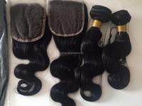 Wholesaler unprocessed crochet braid hair for salon or shop beauty supply body wave 3 bundles with closure