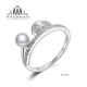 Wholesale Cute 925 Sterling Silver Animal Pearl Ring with CZ