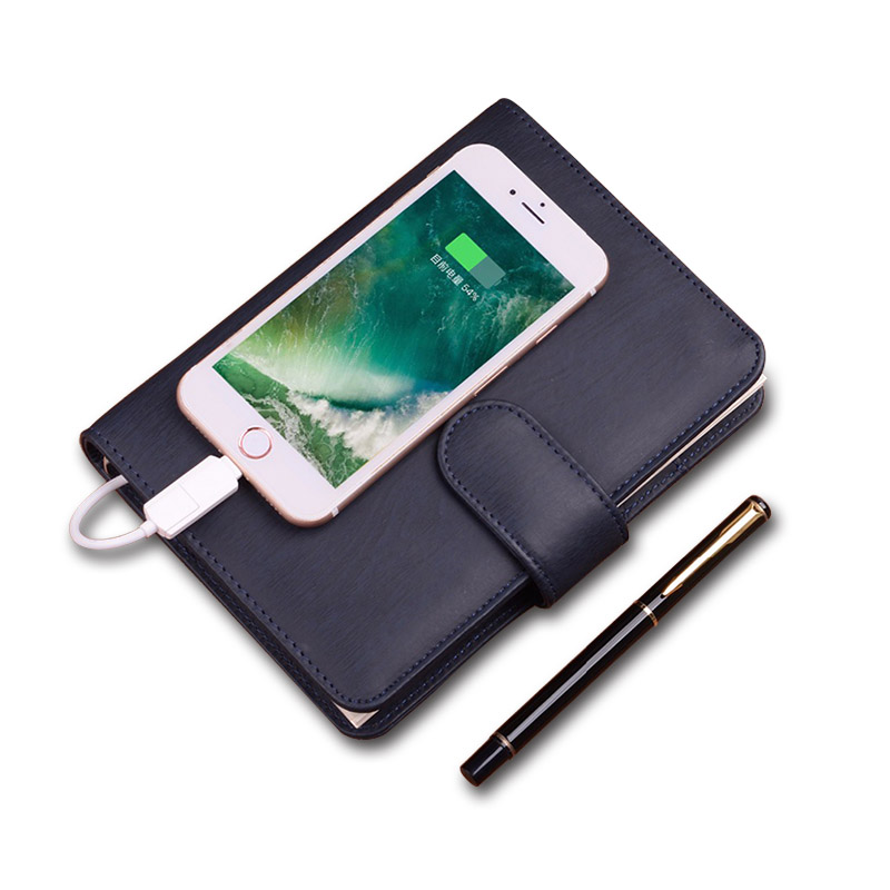 Business Notebook with 4000-10000mAh Power Bank Office Supply Business Gift Luxury Accept Customized Diary 2018