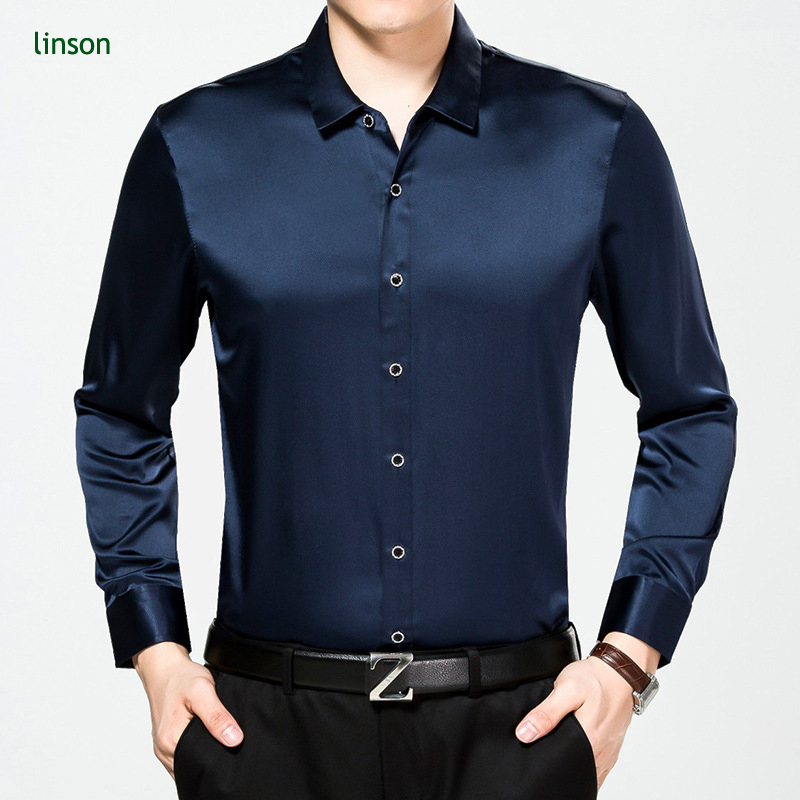 Custom New Style Plain Color Long Sleeve Business Men Silk Shirts фото