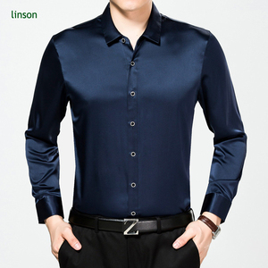 6c9897180bd293 Men Plain Silk Shirt