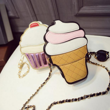 New Cute Cartoon PU Leather Small Chain Clutch Crossbody Girl Shoulder Messenger bag Women Ice cream Cupcake Mini Bags