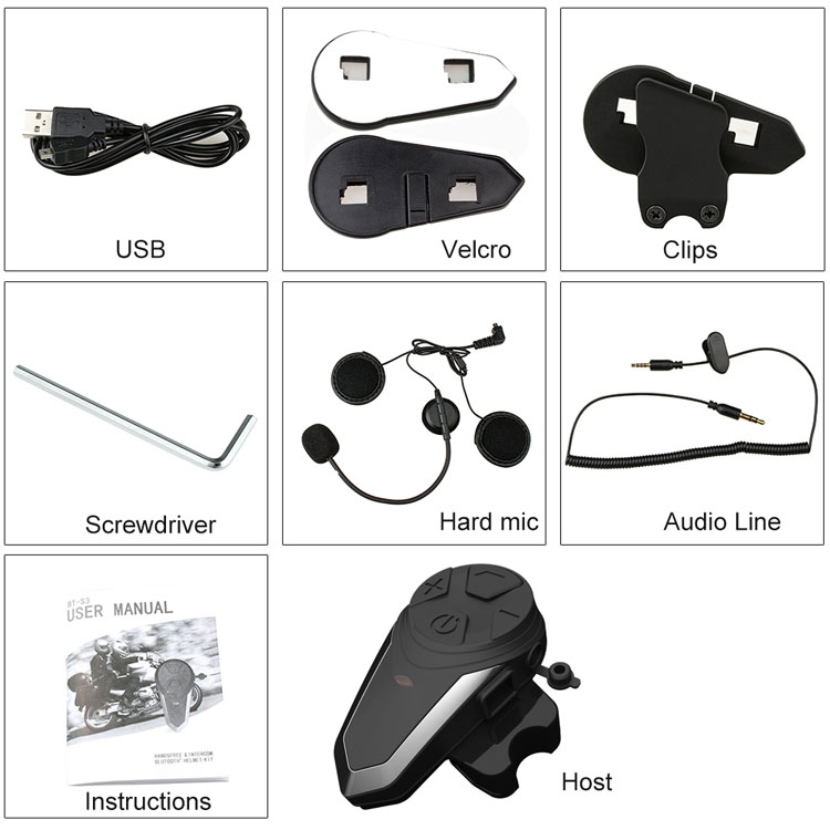 BT-S3 Motorhelm Intercom 1000M Draadloze Helm Draadloze Headset Waterdichte Bt Interphone Intercomunicador Moto Fm