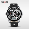 Top Brand WEIDE Wholesaler New Product colorful appearance Mens Digital Dual Time Watch With Genuine Leather 3ATM sport Watch