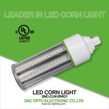 Hot sale clear cover internal driver parking lot lighting IP64 G24 led cob corn light 20W with UL cUL listed 5 years warranty