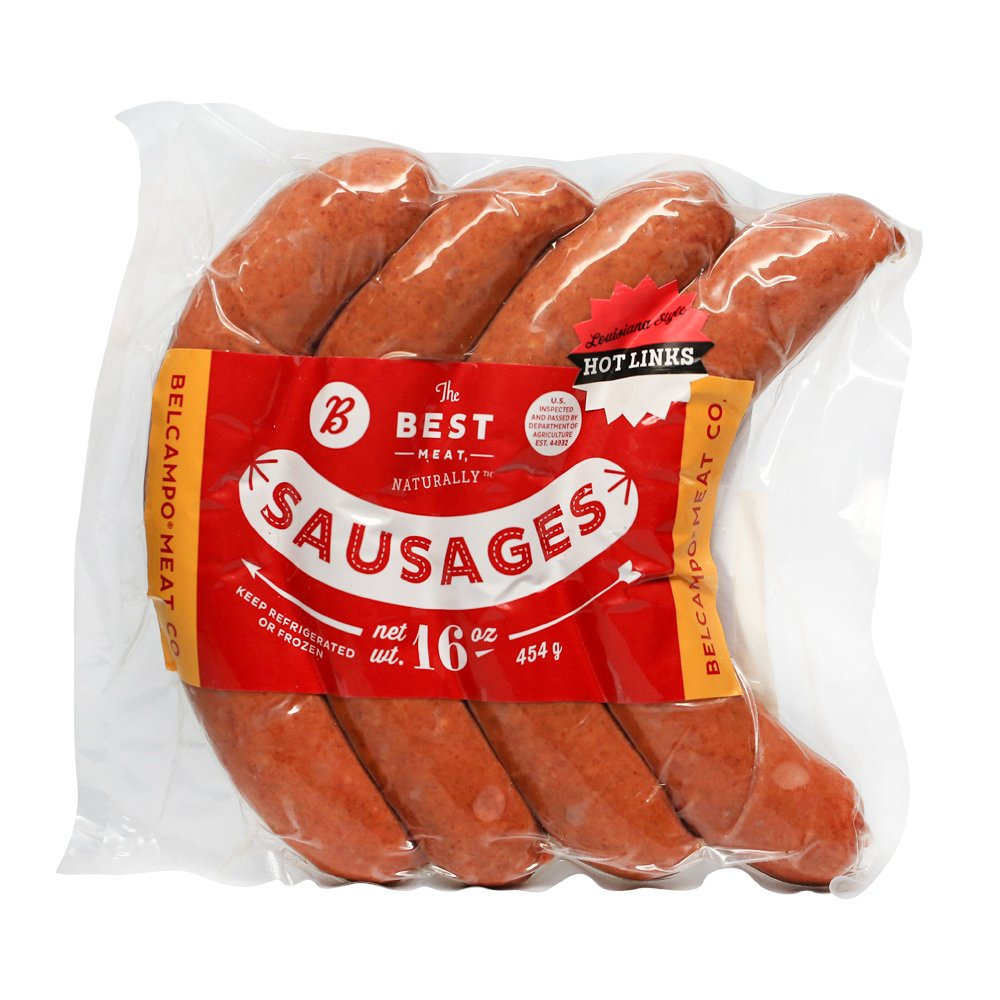 Belcampo Meat Co. Hot Links, Made with Organic Beef and Pork, 1 lb.