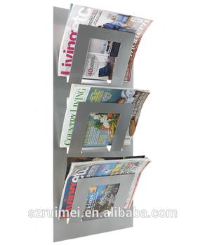 Wall Mounted Multifunction Office Furniture Newspaper Rack Magazine Holder