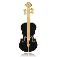 violin pin brooch metal painted craft enamel lapel pin