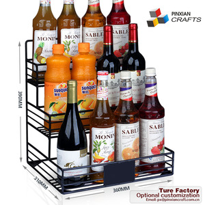 12 bottles display shelves kitchen countertop Three 3-Tier iron wire Metal Coffee/Wine / Syrup / Liquor Bottle Holder and rack