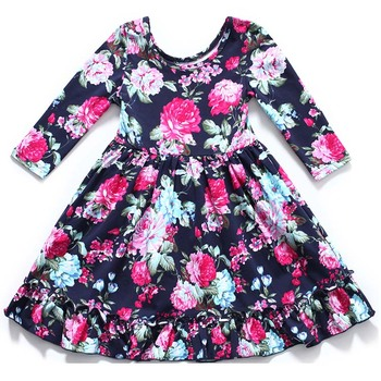 Clearance New Wholesale Retail Summer Toddler Kids Clothes Girls' Dresses Long Sleeve Print Fashion Princess Children's Dress