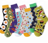 MOQ 12pairs wholesale girls socks happy cute korean cotton crew