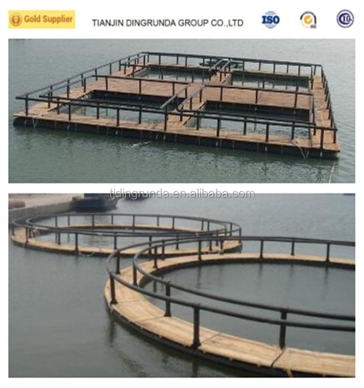 HDPE square fishing cage in the lake