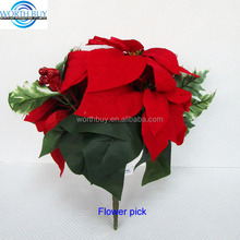 Christmas floral picks,Christmas decoration poinsettia pick