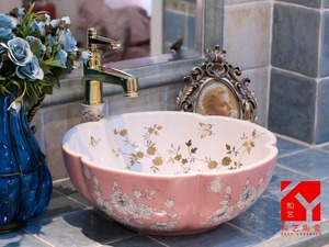 Factory direct sale glaze leaves pattern pink bathroom kitchen sink