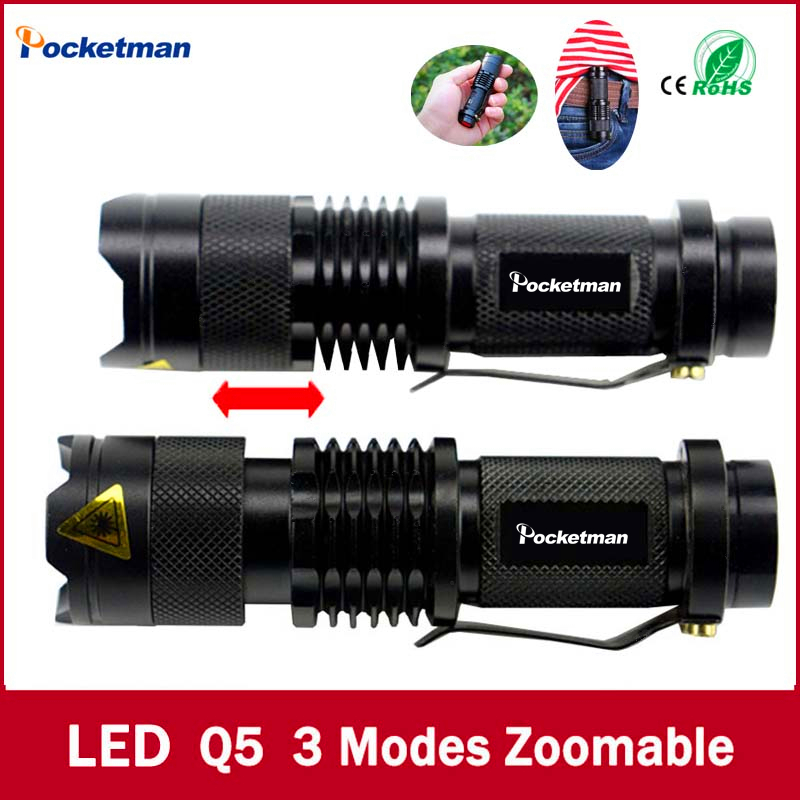 high quality Mini Black Brand 2000LM Waterproof LED Flashlight 3 Modes Zoomable LED Torch penlight free