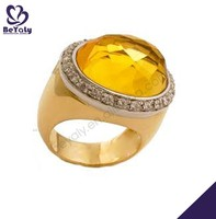 Gold color facets 925 sterling silver ring with setting yellow topaz