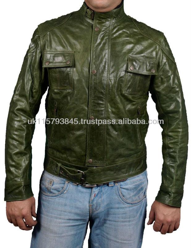 Chaquetas de cuero verde hombre