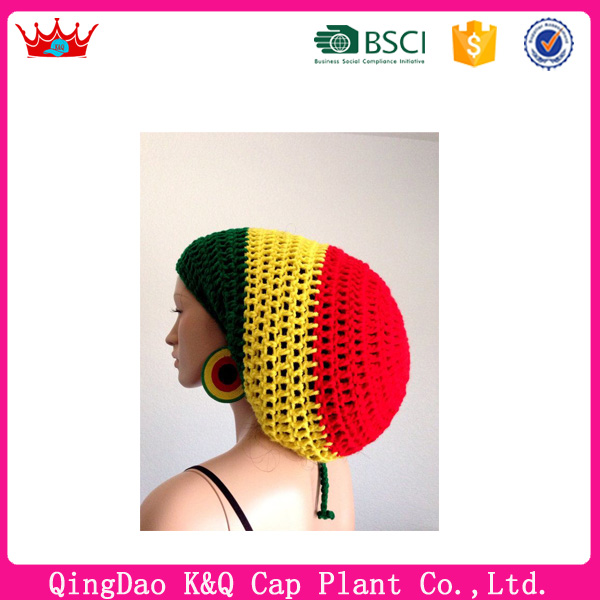 Custom fashion warm winter knitted free rasta hat crochet pattern