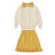 autumn style turndown collar solid ruffle skirt kid sweater outfit clothing girl set