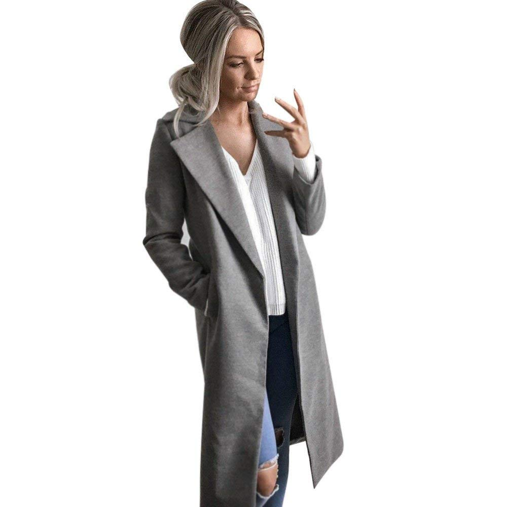 POTO Women Coats Clearance Sale!Women Long Coat Lapel Parka Jacket Outwear Cardigan Slim Coat Overcoat Trench Coat