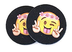 Peace, Face With Stuck-Out Tongue and Winking Eye Emoji car coasters - Makes a great gift - Two coasters for your cup holder