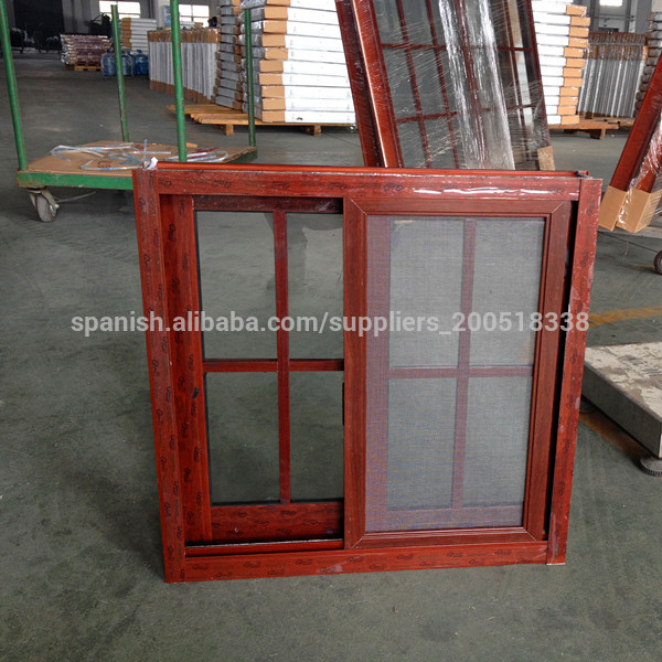 Mm 600 600 color madera ventana corredera de aluminio for Ventanas pvc color madera
