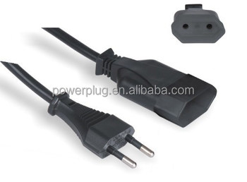 10a 250v electric plug 2 flat pin swiss power extension cord