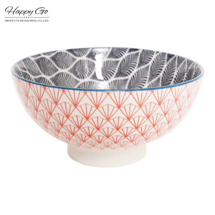 ceramic microwave safe rice bowl/round microwave safe rice bowl porcelain bowl with pad printing