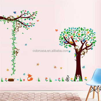 colorcasa cartoon monkey tree wall stickers animal wall decals for