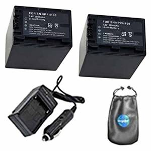 ValuePack (2 Count): Digital Replacement Digital Camera and Camcorder Battery PLUS Mini Battery Travel Charger for Sony NP-FH100, DCR: SR40, SR60, SR42, SR62 - Includes Lens Accessories Pouch