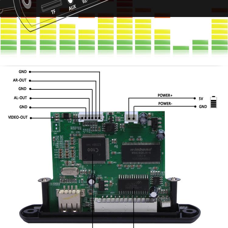 china mp4 mp5 video usb player module circuit board