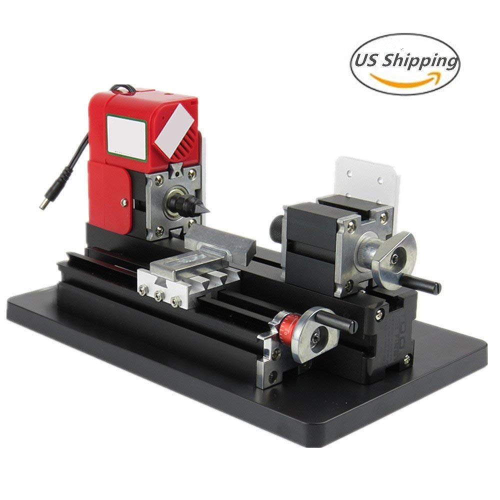 Lolicute 24W 20000rpm Motorized Mini Metal Working Lathe Machine DIY Tool Metal Woodworking for Hobby Science Education Model Making( United States Shipping)